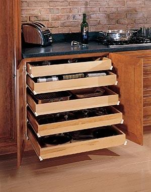 Get organised and create space by adding pull out drawers into a cupboard. http://completelycoupons.com