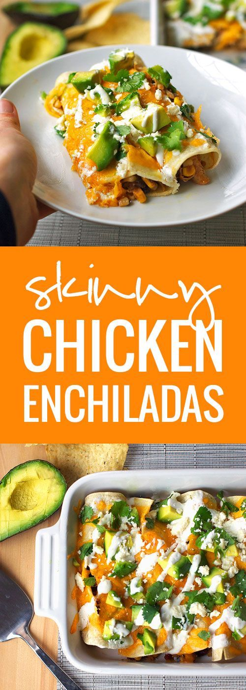 Skinny Chicken Enchiladas - Super easy and super healthy. Throw ingredients in the crockpot and roll together. Top it off with melted cheese, avocado, crema, and more Cotija cheese.