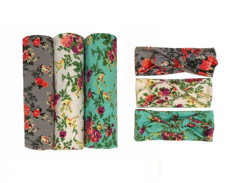 Set of 3 Floral Print Swaddle Blankets with Matching Headbands - Soft, lightweight jersey / cotton fabric with a slight stretch to allow for a snug fit around babies (best for NB - 6 months). Swaddle