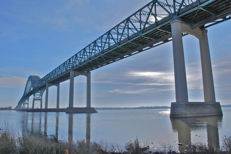 ... under the Laviolette Bridge, in Trois-Rivières (Quebec)