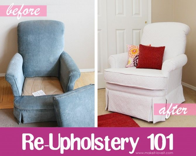 Re-Upholstering 101: turn old/ugly furniture into beautiful! www.makeit-loveit.com #sewing #upholstery #makeitandloveit
