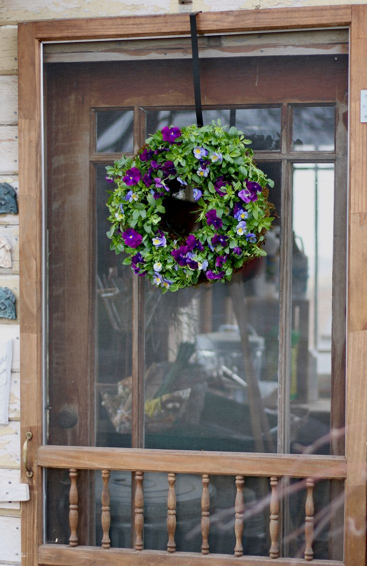 create a pansiola wreath for your front door or the wall of your patio