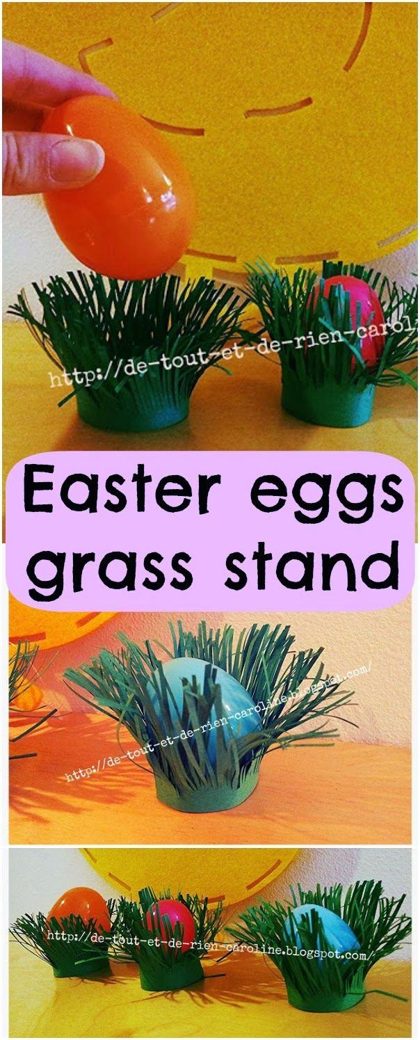 Easter eggs grass stand. Great for indoor egg hunt :)