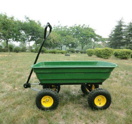 Delightful Homcom 75L Garden Cart Heavy Duty 4 Wheel Trolley Dump Wheelbarrow Tipper  Trailer Tipping Truck New