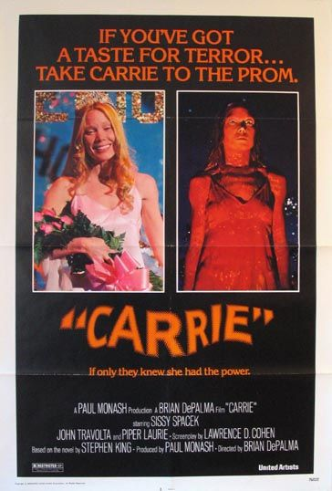 The original Carrie (1976). One of my all-time favorite horror films. The mother really creeped me out when I first saw the movie as a boy.