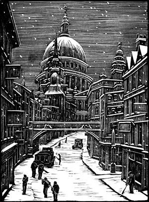 Gwen Raverat: London Snow, wood engraving by Raverat from the Cambridge Book of Poetry for Children, 1932.