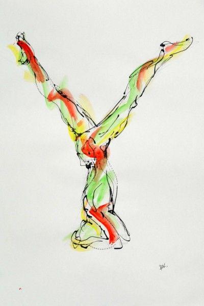 Parsvaikapada Sirsasana (leg variation in Salamba Sirsasana I), split-legged headstand   artwork by Bulgarian-born artist Boryana Korcheva — her latest series of drawings is focused on yoga and seeks to capture the beauty of the human body as it oscillates between static and dynamic.
