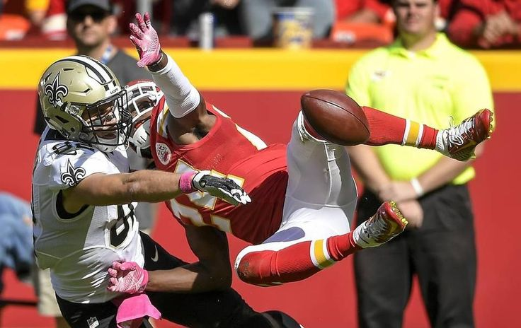 Saints vs. Chiefs  -  27-21, Chiefs  -  October 23, 2016:    Kansas City Chiefs cornerback D.J. White (24) broke up a pass in the end zone intended for New Orleans Saints tight end Coby Fleener (82) at Arrowhead Stadium in Kansas City, Mo. on October 23, 2016. The Chiefs won, 27-21.