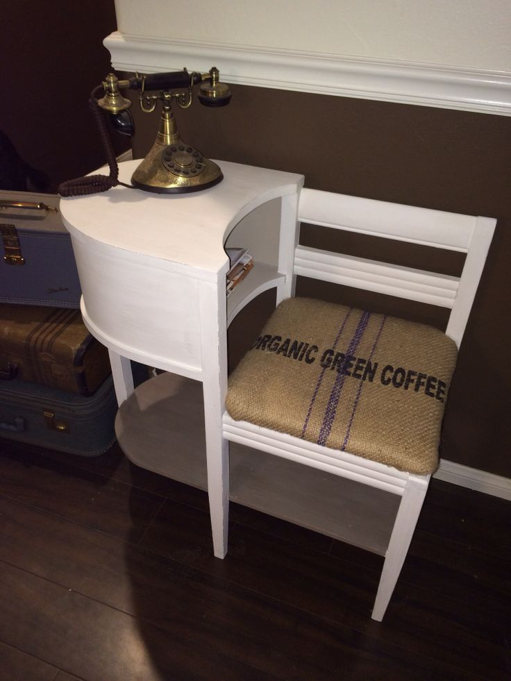 Old gossip bench redo, coffee bean sack, APC chalk paint