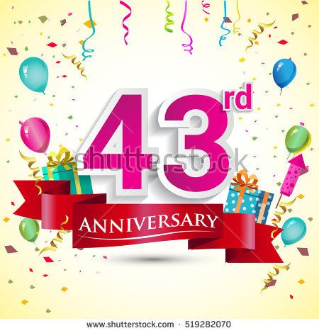 43rd Years Anniversary Celebration Design, with gift box and balloons, red ribbon, Colorful Vector template elements for your birthday party.