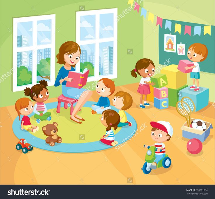 stock-vector-children-s-activity-in-the-kinder-garden-reading-books-playing-education-390891034.jpg (1500×1384)