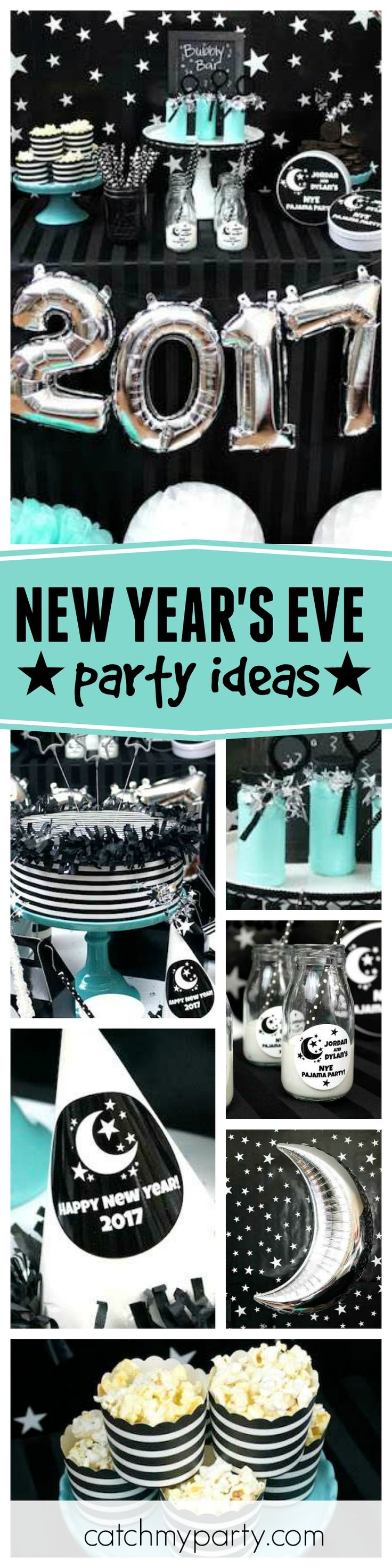Check out this fantastic kid-friendly New Years Eve Pj party!! The dessert table is amazing!! See more party ideas and share yours at CatchMyParty.com