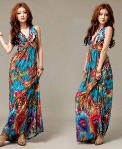 Women's Bohemia Floral Print Maxi Halter Dress