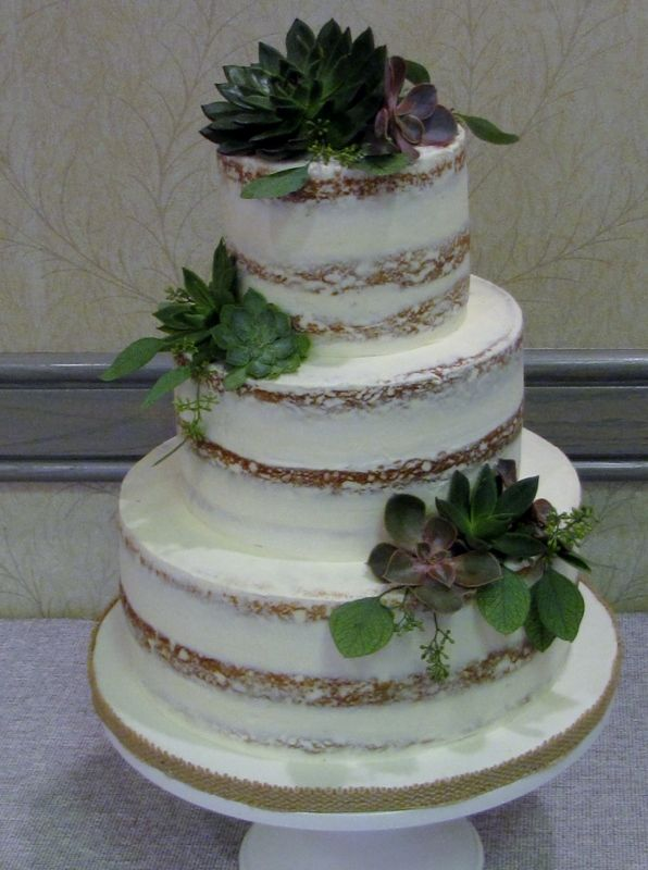 Nearly naked wedding cake with succulents. | Muskoka ...