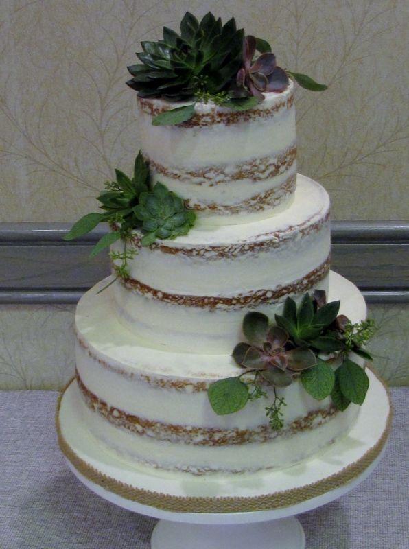 Nearly Naked Wedding Cake With Succulents Muskoka