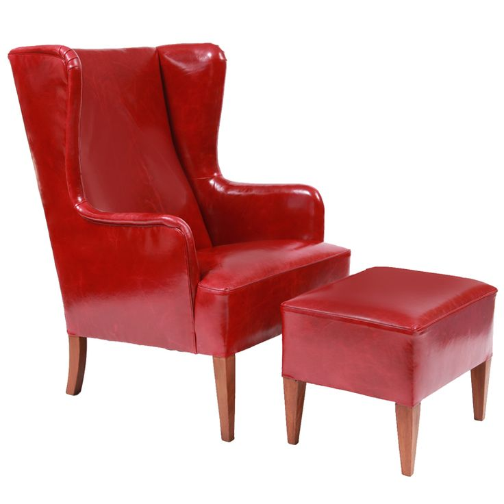 illums bolighus leather wingback chair and ottoman