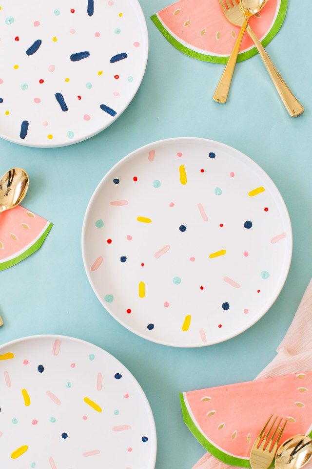 DIY Confetti Pattern plates #porcelain #painting #crafts