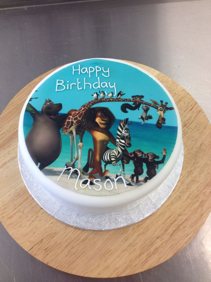 Madagascar themed birthday cake