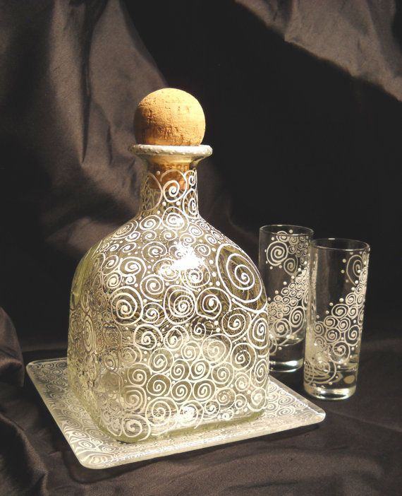 Hand Painted Glass Decanter & Under Plate with Two Painted Shot Glasses, Barware on Etsy, $135.00