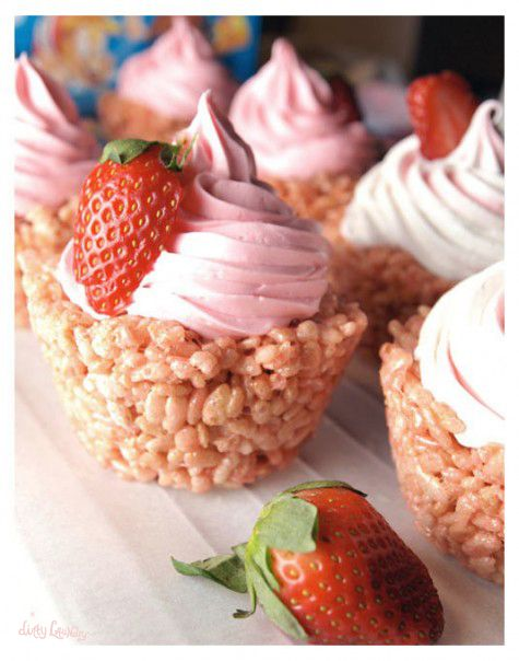 strawberry rice krispie treats in cupcake shapes with strawberry icing