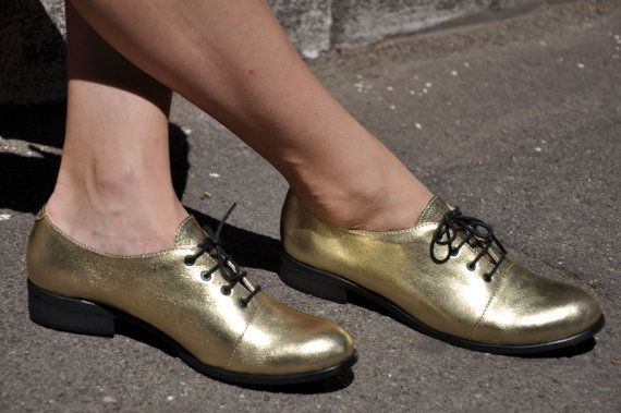 Mariachi  Gold Oxfords Leather Oxfords for Women by JuliaBoShoes