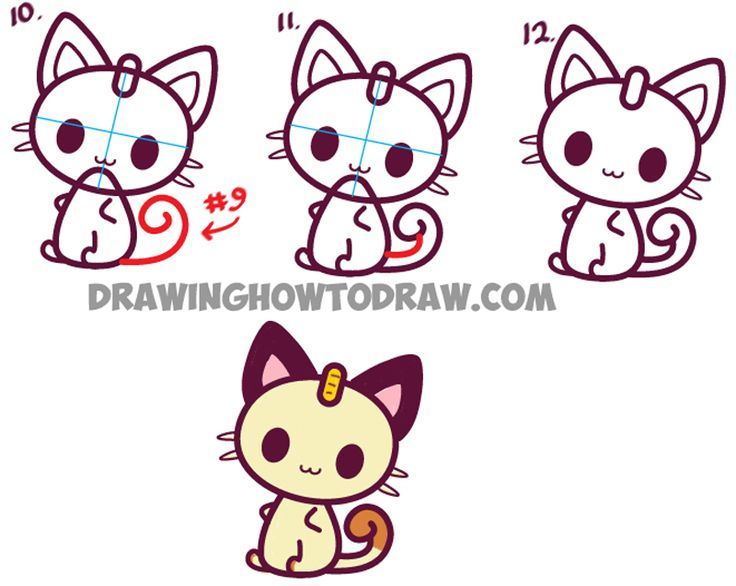 Learn How to Draw Kawaii Chibi Meowth from Pokemon - Easy Step by Step Drawing Lesson