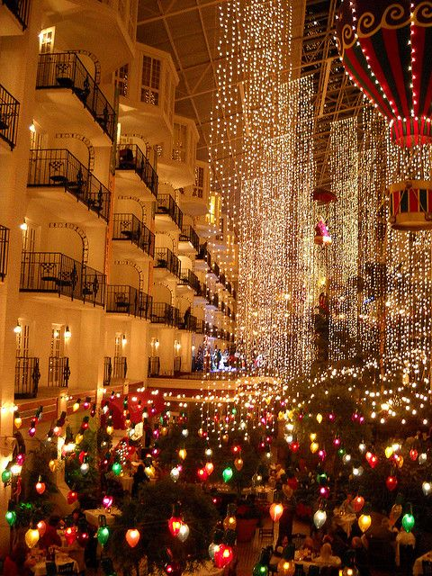 My favorite getaway..Opryland.  I would love to see it decorated for Christmas!