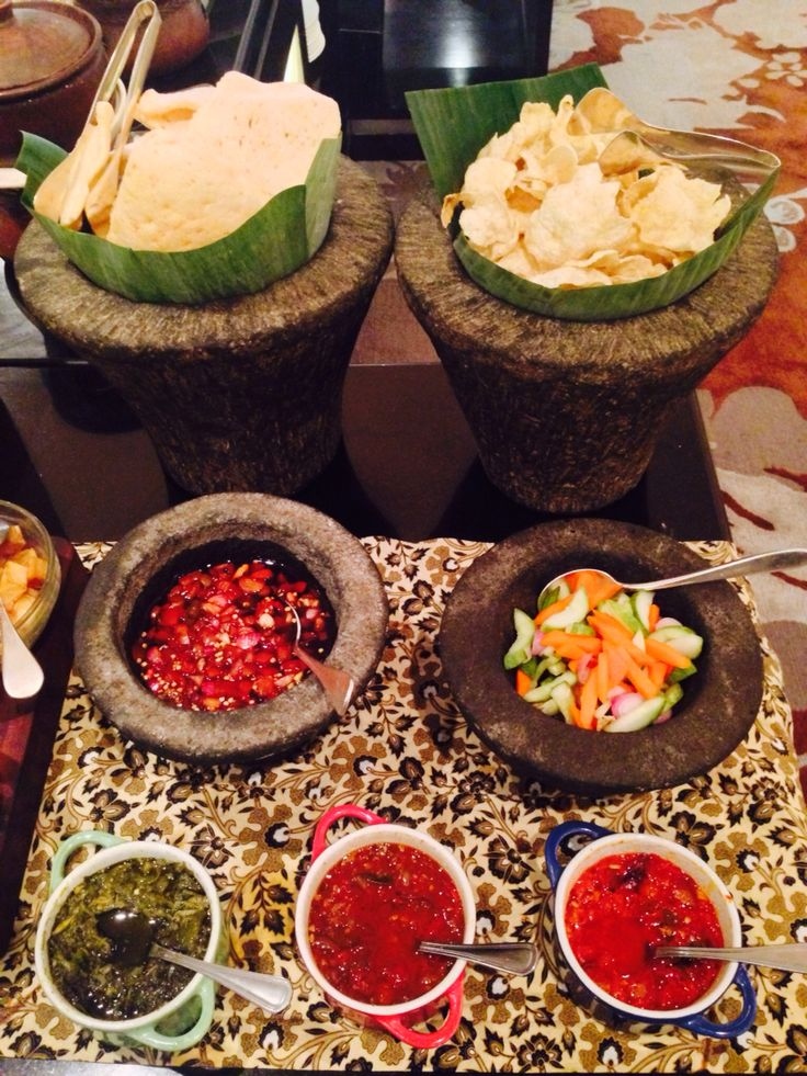 Indonesian variety of chili sauces and crackers