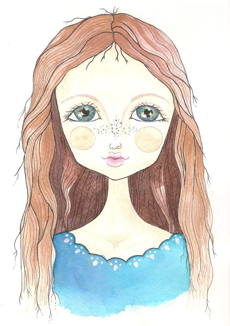 Sebaj haj!, Léna girl watercolor by Bencze Anita Turquoise Janina illustration