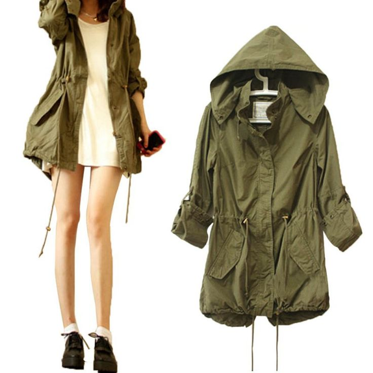 Cheap green military, Buy Quality green military parka directly from China coat jacket Suppliers: Women Spring Autumn Army Green Military Parka Trench Hooded Coat Jacket Hoody