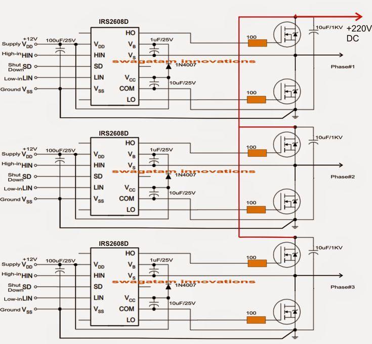 Solar 3 Phase Inverter Detailed Working Explanation And Circuit Diagram Homemade Circuit Projects Diagrama De Circuito Esquemas Eletronicos Inversor Solar