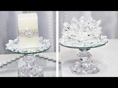 Beautiful Crystal Candle Holders Easy Dollar Store DIY #homedecor #springdecor #dollartree