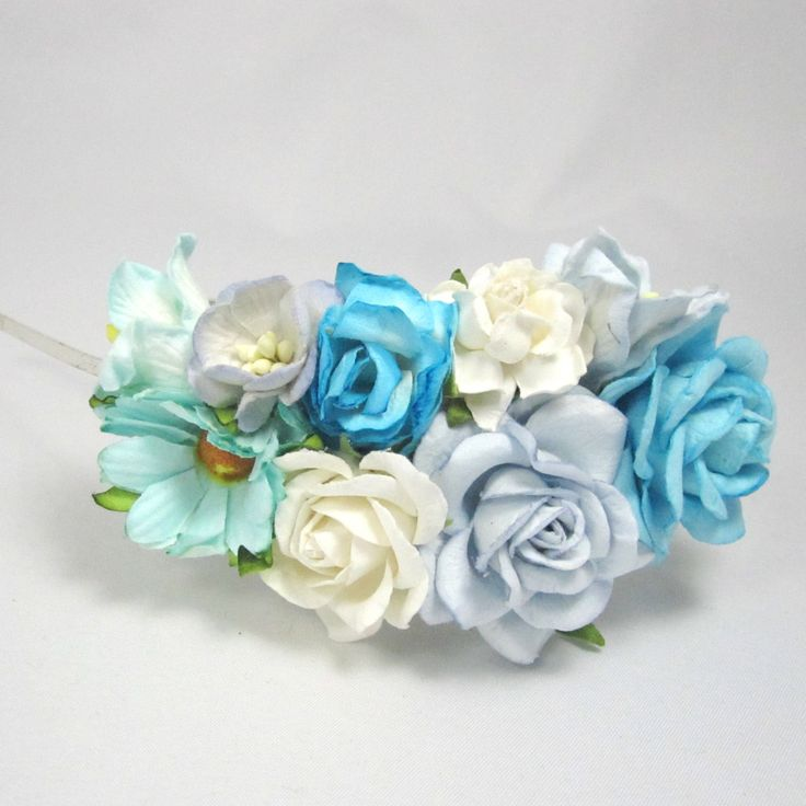 Cornflower and turquoise roses Floral Headband Flower Fascinator Vintage Wedding Party Bridal Accessory Bridesmaid statement