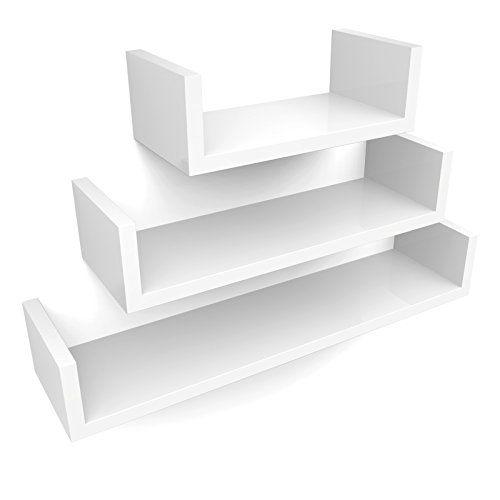 Songmics Estante de 3 sets para la sala, estanterías de pared para libros, DVDs, cosas pequeñas 3 Cubos LWS66W