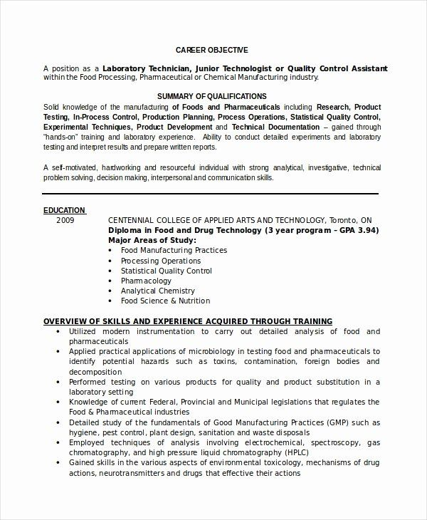 Entry Level Research Assistant Resume New Resume For Lab Technician Resume Sample In 2020 Resume Skills Lab Technician Sample Resume