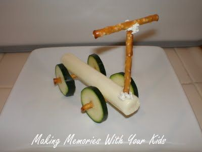 SCOOTER SNACK FOR KIDS: This cute and nutritious little scooter is assembled using string cheese, pretzels, and cucumber slices. (Plus a dab of cream cheese or peanut butter for glue).
