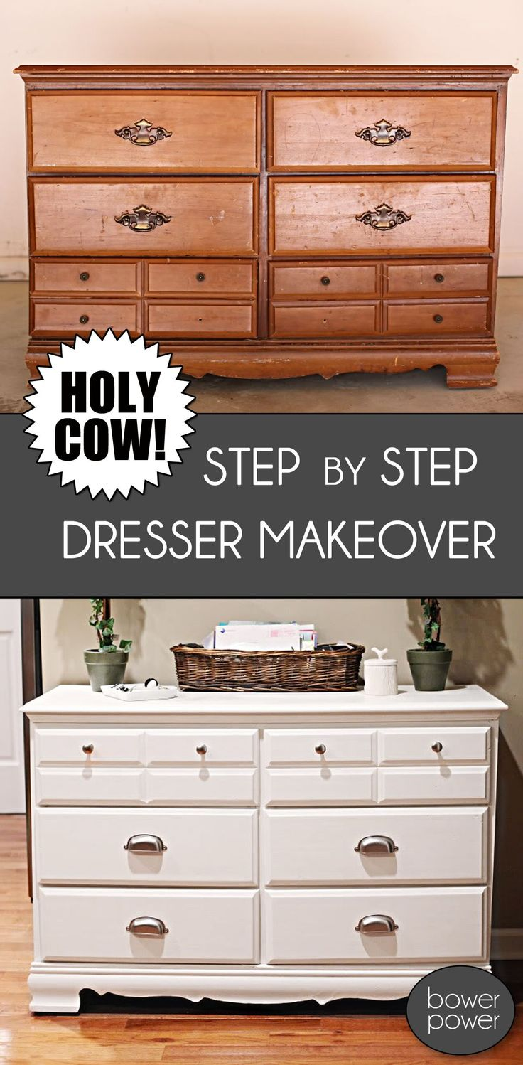 DIY dresser makeover. Turn a goodwill find into a beautiful storage chest for the foyer, bedroom, kitchen or wherever you may need one!