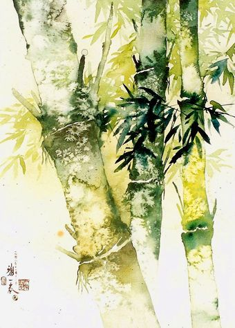 Bamboo forest 竹 林 深 处0155 Watercolor by sia.yekchung 谢一春, via Flickr