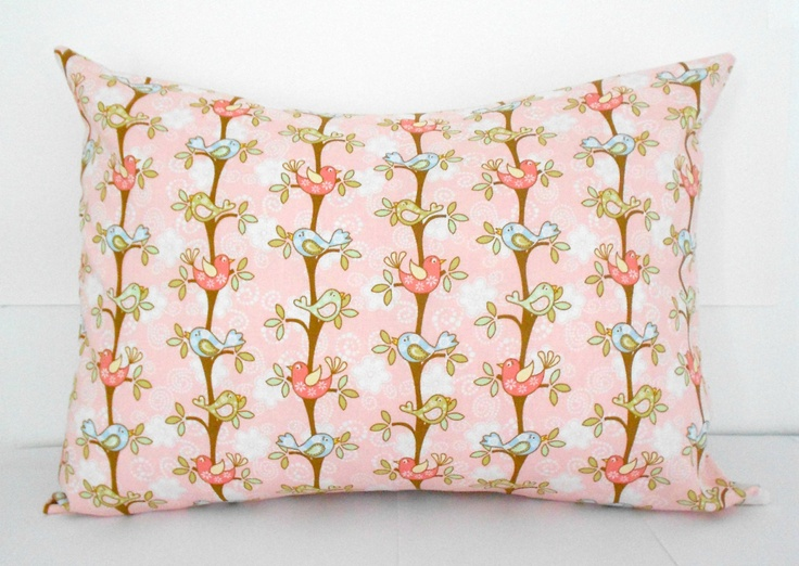 Nursery Pillow Cover Pink With Birds