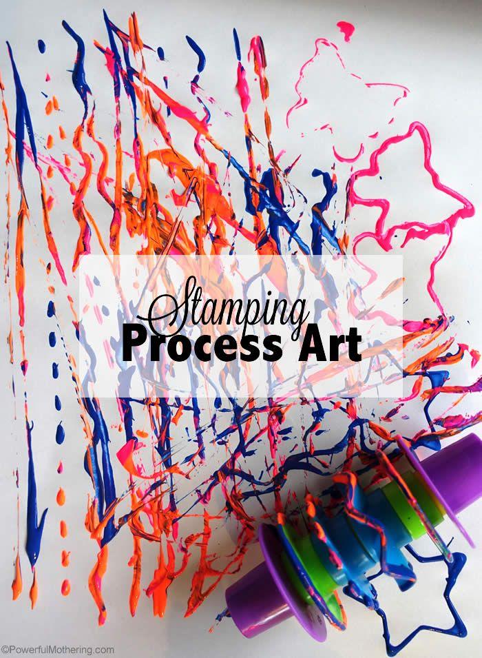 Stamping process art using #playdough tools.