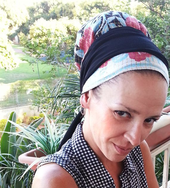 Fabulous floral cotton tichel with a gold strings, Head cover, Nets hat, Chemo hat, Bandana, Lycra strips, Sinar, Apron, Mitpachat, Hair net