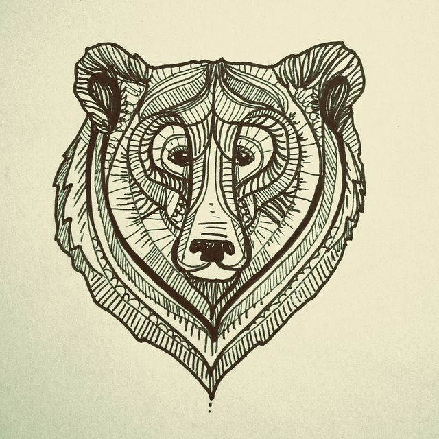 bear face illustration, drawing, design | Tattoos ... Bear Face Drawing