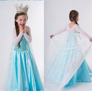 Kids New Party Halloween Cute Girls Costume Elsa Anna Frozen Classic Princess    Get this gorgeous costume and your Frozen fan will love ruling over the wintry city of Arendelle in this beautiful Elsa costume. She will never let go of her freezing powers in this Classic Snow Queen Elsa Kids Gown this Halloween season!