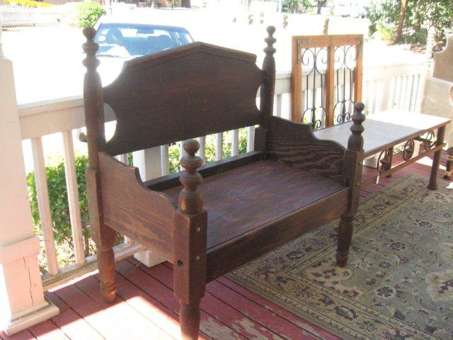 Bench made out of old headboard and footboard. No