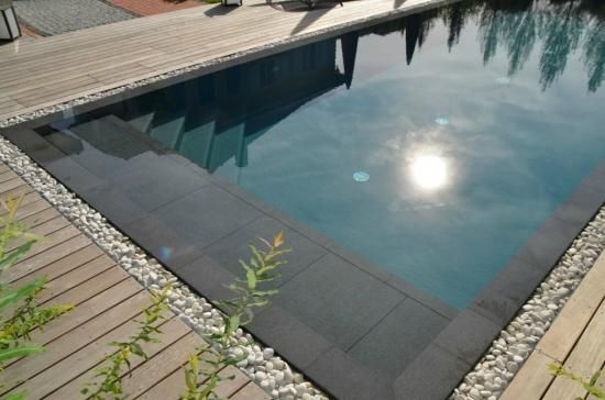 Plage escaliers piscine miroir avec terrasse en bois Pool