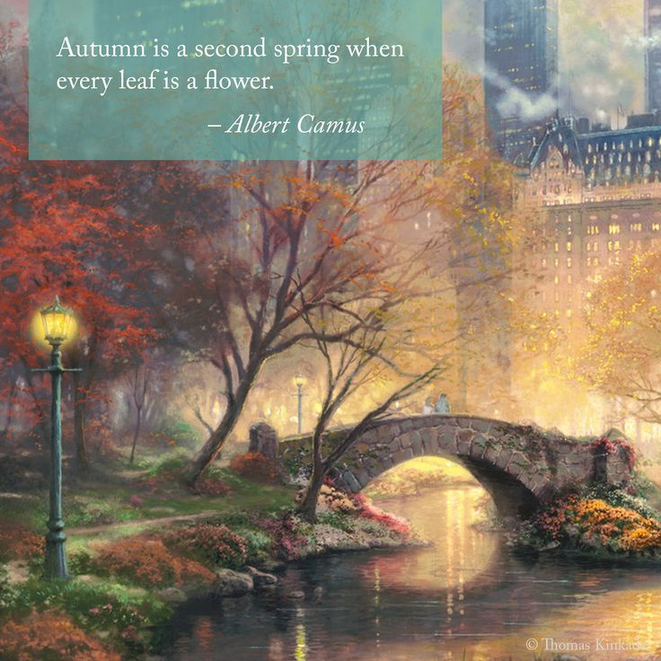 "Sunday Inspiration. ""Share the Light.""  ""Central Park in the Fall"" - Thomas Kinkade - painted 2010 - https://thomaskinkade.com/art/central-park-in-the-fall/  #SundayInspiration #inspirationalquote #thomaskinkade #albertcamus #september #nyc #centralpark"