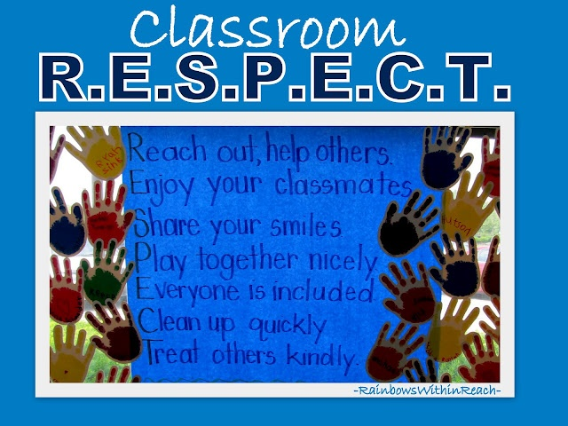Bulletin Board Acrostic for Classroom Rules, Handprint pledges -- from series on bulletin boards + classroom door decorations