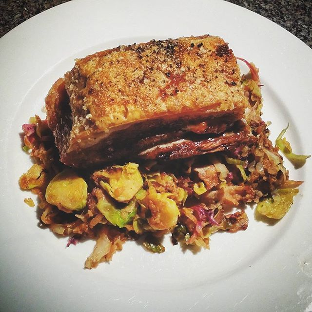 Slow cooked pork belly with sautéed brussel sprouts, red and green cabbage and apple  #cleaneating #protein #glutenfree #vegegoodness #dairyfree #wholefoods #homemadegoodness #primal #paleo #paleofoodie #grainfree #primaleats #primalfood #cleaneats #paleofood