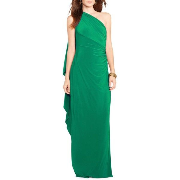 Lauren Ralph Lauren One-Shoulder Jersey Gown ($170) ❤ liked on Polyvore featuring dresses, gowns, argentine emerald, formal dresses, emerald green evening gown, emerald green evening dress, evening gowns and one shoulder evening dress