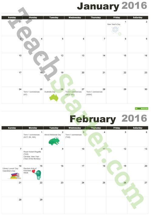 2016 Australian Calendar With Important Dates Teaching Resource